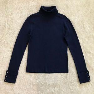 Everlane Button Cuff Turtleneck Sweater Blue M